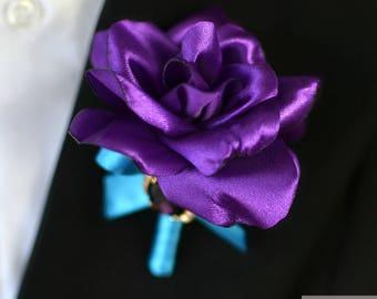 Wedding Boutonniere Men Boutonniere Purple Boutonniere Buttonhole Grooms Boutonniere Jewelry Boutonniere Rose Boutonniere Fabric Boutonniere