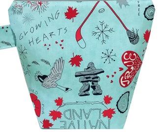 Canada | Sock Knitting Project Bag | Knitting Bag | Crochet Bag | Storage Bag