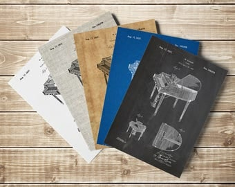 Retro Piano Poster, Piano Poster,Piano Patent Poster,Piano Teacher,Grand Piano Poster,Musician Art Gifts,Piano Teacher Gift,INSTANT DOWNLOAD