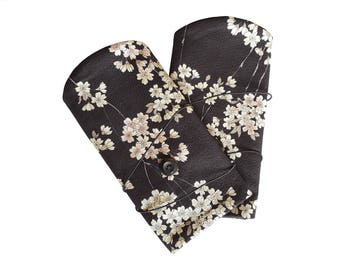 Black Japanese fabric with white flowers and fleece mittens