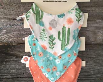 All 3 bibs bavana bandana bibs cotton Terry baby 0-12 months turquoise coral cactus flower