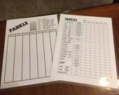 """5 sets of Double sided laminated Yardzee and Farkle scorecards - 8.5"""" x 11"""""""