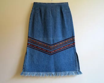 Vintage Blue Skirt Denim Skirt Midi Denim Skirt Jeans Skirt A Line Skirt Embroidery Skirts with Fringe Medium Size