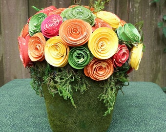 Small Floral Arrangement, Fall Floral, Hostess Gift, Glittered Paper Roses,  Green Moss
