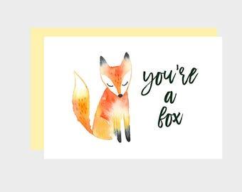 Instant Download, Printable Valentine, Funny Valentine Card, Fox Valentine, Cute Valentine, You're A Fox, Romantic Valentine, Fox Card Print