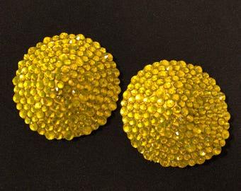 Yellow Rhinestone Burlesque Pasties