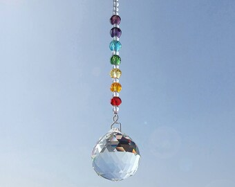 Hanging window chakra suncatcher glass crystal suncatchers pendant rainbow fengshui prism ball
