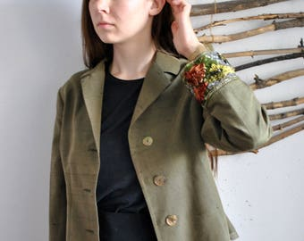 Green vintage coat 1990s 1980s womens summer spring suit jacket flowers embroidery