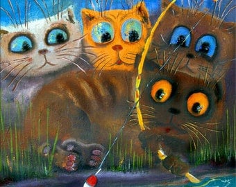 Cats with Fish, Art Print on Canvas, Painting in the Children's Room, Colorful painting, Canvas Art, Interior Art, Living Room Decor