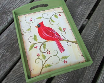 Cardinal on a tray/ Christmas or Winter tray