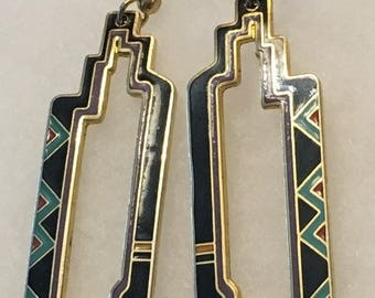 Laurel Burch Vintage Art Deco Dangle Earrings
