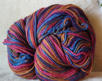 Multicolor wool 2 ply worsted weight soft  wool yarn 594 yd skein