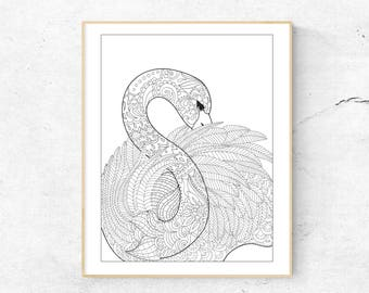 Flamingo - Coloring Page, 8.5x11 inch