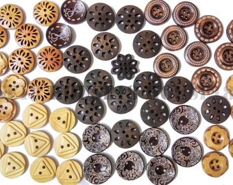 Assorted Wood Button Wooden Button Round Button Two Holes Four Holes Scrapbooking 66 PCS