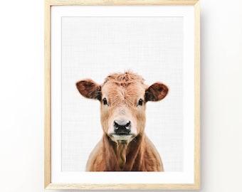 Cow Print, Calf Print, Baby Animal Print, Animal Nursery Art, Nursery Decor, Animal Print,  Nursery Animal Portrait, Farm animal photography