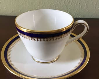 Stunning Blue and Gold Spode Teacup and Saucer