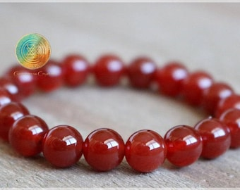Carnelian Bracelet, 6mm Genuine Dark Red Carnelian Bracelet, Beaded Gemstone Mala Stretch Bracelet, Womens or Mens Bracelet, Stone Jewelry
