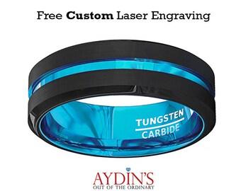 Tungsten Wedding Band - Black Tungsten Wedding Band - Aqua Blue Ring - Groove Beveled Edge - Tungsten Wedding Ring - Mens Tungsten Ring
