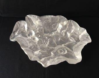 Hoya Crystal dish, Hoya crystal, glacier bowl, glacier dish, vintage crystal,