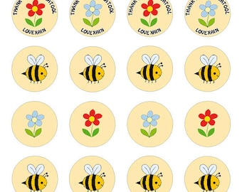 24 bee thank you teacher/teaching assistant cupcake toppers personalised