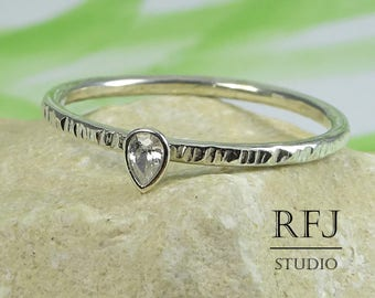 Pear Cut Lab Diamond Textured Silver Ring, Stacking August Birthstone Ring Teardrop White Cubic Zirconia 3x2 mm Thin Sterling Ring CZ Ring