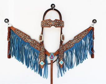 Turquoise Studded Fringe Headstall Leather Western Horse Trail Bridle Breast Collar Plate Barrel Racer Cowgirl Bling Tack Set
