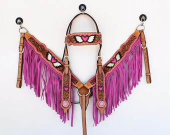 Pink Heart & Wings Fringe Tooled Western Show Leather Trail Barrel Racing Racer Bridle Headstall Breast Collar Tack Set