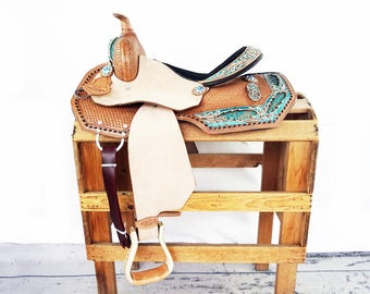 "15"" Teal Brocade Floral Buckstitched Western Horse Pleasure Trail Barrel Racer leather Saddle"