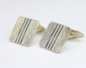 Vintage square silver cufflinks/835 silver cufflinks/textured cufflinks/gift for men/vintage mens accessories/for him/grooms gift/modern