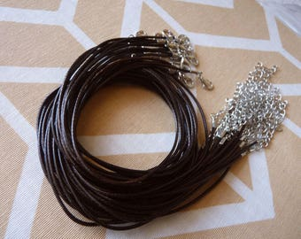 "1/5/10 Brown Waxed Cord, 1.5mm Round Cord, 17.7"" Necklace Cord, Adjustable Finished Round Necklace Cord +2"" Extension Chain"