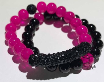 10mm Hot Pink and Black Glass Beaded Bracelet Set with Black Pave Crystal Tube and Ball accents