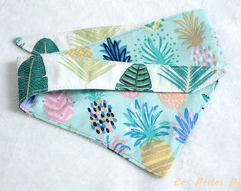 Reversible dog bandana multicolored pineapples and green leaves S size