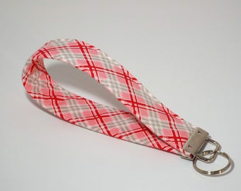 Plaid Fabric Key Fob, Key Chain, Wristlet,  Gift for Her,  Gift Under 10, Keychain, Key Fob Wristlet, Key Lanyard, Plaid Keychain, Key Ring