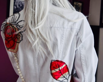 Flowers and pearls white denim jacket