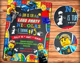 Lego Invitation, Lego Birthday Invitation, Lego Party, Lego Birthday Party, Boy Lego Invitation, Girl Lego Invitation