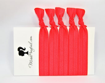 Red Hair Ties, Solid Red, Bulk Hair Ties, Knotted Hair Ties, Yoga Hair Ties, Handmade Hair Ties, Ponytail Holders, Elastic Hair Ties, FOE