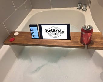 Reclaimed Solid Wood Bath Bar Tray Caddy Rack Shelf Tablet Mobile Phone Holder