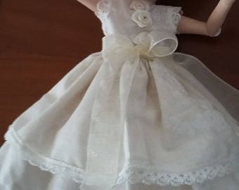 little dress and panties for doll BLYTHE 30 cm ivory fabric