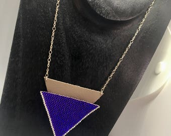 Triangle necklace in 925 Silver miyuki beads and leather