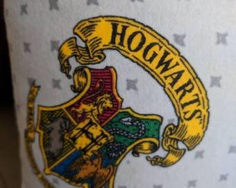 Hogwarts throw pillow, Harry Potter theme home decor.