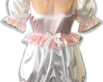 50% OFF SALE Esther CUSTOM Fit Lacy Pink & White Satin Adult Baby Lg Sissy Romper Leanne