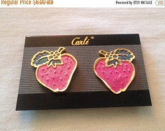 On Sale Vintage 80's Strawberry Clip Earrings