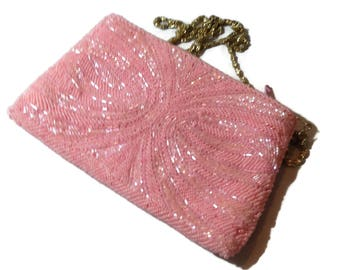 Beautiful Pink Beaded Handbag