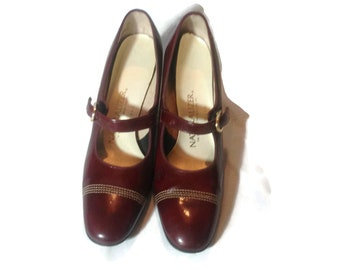 Vintage Maroon Naturlizer Mary Jane Shoes