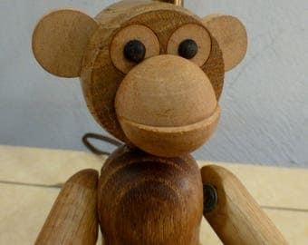 Vtg MCM Kay Bojesen Style Teak Wood Monkey Japan Scandinavian Design Zooline Era