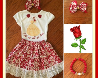 Belle Inspired Outfit, Belle Birthday Set, Belle Princess Costume,First Birthday, Disney Trip Set,