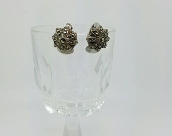 Vintage Antique marcasite clip on earrings