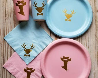 Buck or Doe gender reveal plates, cups, napkins, buck or doe gender reveal party, boy or girl, baby reveal, buck or doe, boy or girl cups,