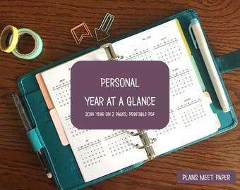 PRINTABLE Personal 2018 Year at a Glance
