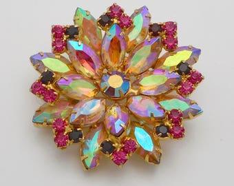 Vintage Pink Aurora Borealis Marquis Rhinestone Flower Brooch